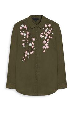 Khaki Embroidered Shirt