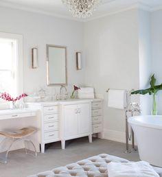 Milton Development - bathrooms - Bling Chandelier, gray walls, gray floor tile, gray bathroom floors, gray velvet ottoman, gray velvet tufte...