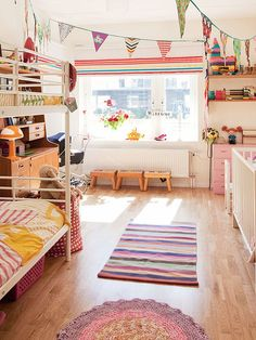 contemporary kids by Fotograf Lisbet Spörndly - love the bunting flags - would be fun for a game room, too!