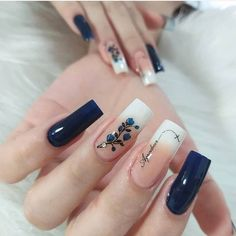 Nail Art Designs, Square Nail Designs, Cute Acrylic Nails, Cute Nails, Pretty Nails, Hair And Nails, My Nails, Marble Nail Art, Nail Polish Art