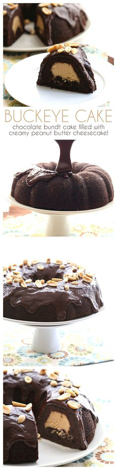 Delicious low carb chocolate bundt cake with a tunnel of creamy peanut butter…