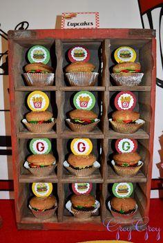 Hamburger Themed 3rd Birthday Party cupcakes