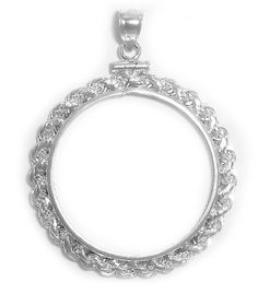 Sterling Silver Canadian Large Dollar Rope Edge Coin Bezel Frame Mount 36mm x 2.8mm - C2116MQ6QDX - Brooches & Pins  #jewellrix #Brooches #Pins #jewelry #fashionstyle
