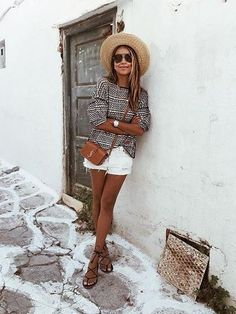bohemian stye + summer outfit inspiration + straw hat + casual beach style + vacation look + spring style
