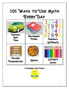 Use this math scavenger hunt as a team building activity! Students prepare picture book, video, power point, or poster showcasing ways they interact with math throughout the day--for example:    bed ~ prism; cereal bowl ~ hemisphere.Discussion questions, sample answer key, writing activity and rubric included.