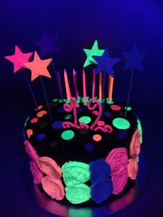Glow in the dark cake made for Bri's 12th birthday