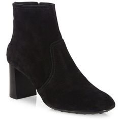 Tod's Suede Block Heel Booties ($675) ❤ liked on Polyvore featuring shoes, boots, ankle booties, apparel & accessories, black, black bootie boots, chunky heel ankle boots, black square toe boots, black ankle booties and black booties