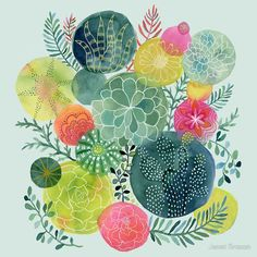 Succulent Circles by Janet Broxon $54 for 30x30 print