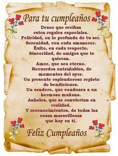 Te deseo un feliz cumpleaños - Continue reading → Spanish Birthday Wishes, Happy Birthday Celebration, Happy Birthday Wishes Cards, Happy Birthday Pictures, Happy Birthday Quotes, Birthday Greetings, Birthday Poems, Whatsapp Videos, Happy Birthday Beautiful