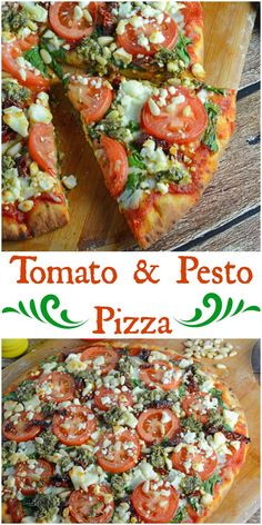 Tomato Pesto Pizza Tomato and Pesto Pizza Recipe – The BEST Homemade Pizza! This is vegetarian and super easy, using 2 types of tomatoes, pesto, mozzarella and feta cheese and toasted pine nuts. Made in a standard kitchen oven! Pizza Recipes, Vegetarian Recipes, Cooking Recipes, Healthy Recipes, Dinner Recipes, Vegetarian Pesto Pizza Recipe, Basil Pesto Pizza Recipe, Best Homemade Pizza, Homemade Pesto