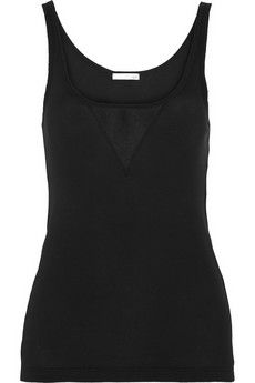 Skin Tulle-trimmed ribbed organic pima cotton tank | NET-A-PORTER