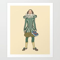 Collect your choice of gallery quality Giclée, or fine art prints custom trimmed by hand in a variety of sizes with a white border for framing. ------  Outfit of William Shakespeare, a British English Writer Poet Male Actor.  drawing willshakespeare illustration realism poetry book reading read story storyteller willshakespeare notsniw figure poet writer love romance relationships playwright english books