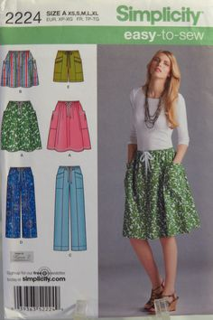 Simplicity 2224 Misses' Pull-On Skirt in Two Lengths and Pants in Two Lengths or Shorts.