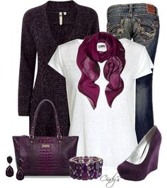 A fashion look from October 2012 featuring White Stuff cardigans, Acne Studios t-shirts and Big Star jeans. Browse and shop related looks. Mode Outfits, Casual Outfits, Fashion Outfits, Womens Fashion, Estilo Fashion, Ideias Fashion, Cute Fashion, Look Fashion, Purple Fashion