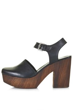 Photo 1 of SMILE Leather Wooden Platform Clogs