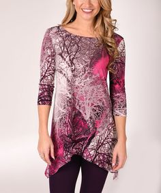 85a90185ce0 Lbisse Fuchsia   Black Tree Branch Sidetail Tunic - Plus