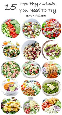 15 Salads Tomato Cucumber And Spinach Salad With Avocado Parsley Dressing Village Salad Arugula Smoked Salmon And Cucumber Salad Kale Persimmon Salad Roasted Beet Salad … Healthy Meal Prep, Healthy Salad Recipes, Diet Recipes, Healthy Snacks, Vegetarian Recipes, Healthy Eating, Simple Salad Recipes, Clean Eating Recipes For Weight Loss, Clean Eating Salads
