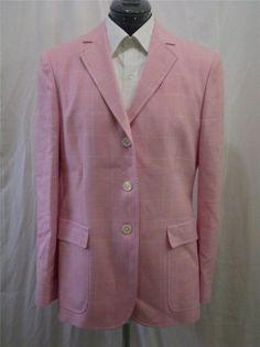 Brooks Brothers Blazer Jacket Pink Windowpane Check Silk Linen Wool Blend 12 #BrooksBrothers #Blazer