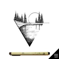 Daily Drawings by Derek Myers : Photo - Tattoo Thinks Geometric Tattoo Nature, Geometric Art, Nature Tattoos, Body Art Tattoos, Tatoos, Cool Art Drawings, Art Sketches, Moutain Tattoos, Landscape Tattoo