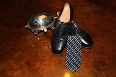 70s Black English shoes and Yves Saint Laurent tie