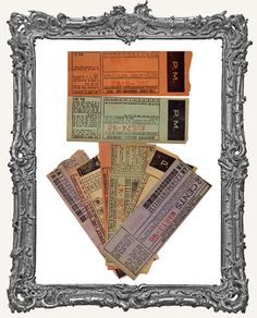 Authentic Vintage Train Tickets - PACK OF 8