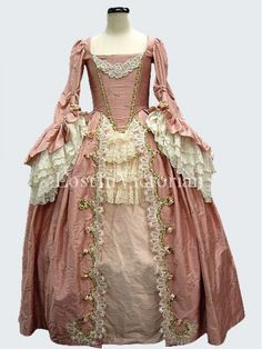 Gorgeous 18th Century Marie Antoinette Rococo Dress Ladies Vintage Wedding Gown PINK