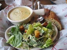 Caesar salad and soup :x