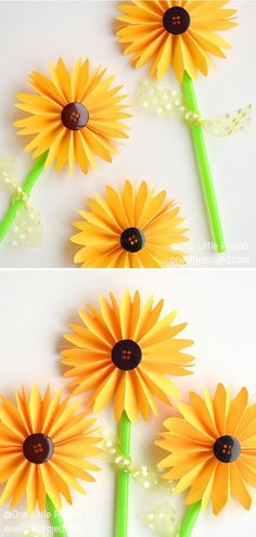 Folded Paper Sunflowers  Are you running out of ideas om how to keep your children happy and busy during the holidays? With this tutorial by One Little Project, you will wake up their creativity and decorate your house with precious paper flowers.  #sunflower #sunflowercraft #sunflowerdecor #summerdiy #crafttutorials Sunflower Crafts, Paper Sunflowers, Sunflower Fields, Summer Diy, Craft Tutorials, Diy Crafts For Kids, Your Child, Om, Creativity