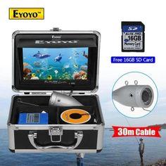 """ราคาถูก  EYOYO 16GB 30m Cable 7"""" LCD 1000TVL Fish Finder Fishing IR CameraDVR Recorder - intl  ราคาเพียง  6,640 บาท  เท่านั้น คุณสมบัติ มีดังนี้ 1000TVL HD camera12 highlight night-vision lights7 inch TFT color monitorWaterproof Level: IP68"""