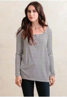 Heather Striped Top In White