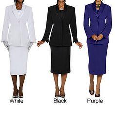 Divine Apparel Women's Satin Trimmed Shawl Collar Skirt Suit