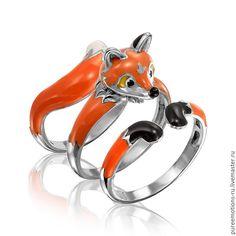 Купить Кольцо Обнимашки в виде лисы Серебро от KU&KU - кольцо эмаль, серебряное кольцо