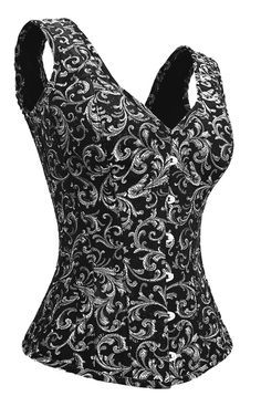 Silver Corset with Shoulder Straps would look good with a white or possible black chemise.