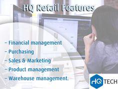 #HQ #Retail Services has many features including: – Financial management – Purchasing – Sales & Marketing – Product management – Warehouse management. Contact us: 0118051609 | info@hqtech.co.za #hqtech #IT #management #HQRetail #retailservices
