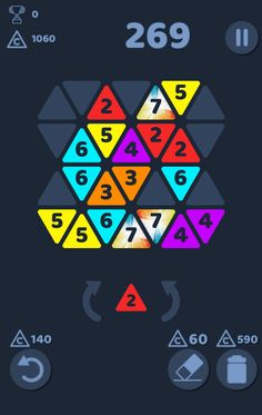 Metrio Triangle Merge Puzzle mobile game explosion score design.