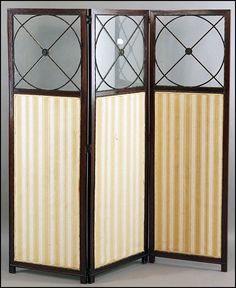 An Early 20th Century #English Mahogany Three Panel Lot 147-1143 Bearing mullioned glass panels above with an upholstered panel below #yellow #stripe