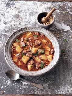 Food: Eleven Soups To Try This Week (I love Spanish food, do you? Try this Spanish potato, Garlic and Chorizo Soup, via Food TV)..You may find this at khaogali.com