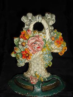 Hubley-flower-basket-door-stop-Cast-Iron