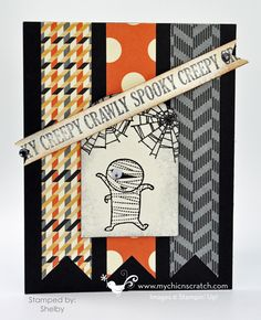 Like the stripes of paper behind the ghost great way to use scraps