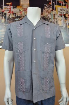 mens romani collection guayabera shirt mexican wedding shirt cuban smoking festive event shirt medium dark grey with embroidery grey stitch
