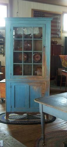 cupboard and table in old blue, could build a cabinet behind an old door