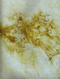 Leonardo Da Vinci-Fünf Grotesken Köpfe