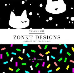 Monochrome with a splash of rainbow!  This is a Look Book of surface pattern designs created by Kim Spiteri Owner & Creator of Zonkt Designs. Displaying all current patterns available in 2016.