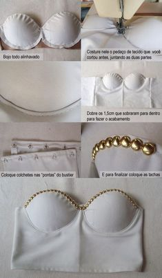 Billedresultat for Cropped Bustier diy DIY Cropped Bustier with studs! This short guide features how to create a cropped bustier. >>> tank top or dress with tailored bust ---- use old bras! they could easily be covered! Corset a partir de sujetador (II): Diy Clothing, Sewing Clothes, Clothing Patterns, Sewing Patterns, Fashion Sewing, Diy Fashion, Womens Fashion, Dessous Shop, Old Bras