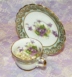 Vintage Stanley Demitasse Cup & Saucer Set Teal Purple Floral Gold Trim Teacup Set England $40
