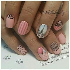 trends tropical flamingo nail art ideas in 2019 page 50 136 trends tropical flamingo nail art ideas in 2019 page 50 French Nails, Manicure And Pedicure, Gel Nails, Paris Nails, Paris Nail Art, Nailart, Flamingo Nails, Romantic Nails, Vintage Nails