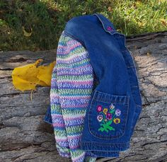 Denim Jacket Sweater Sleeves Women's Plus Size Bust 44-45 Fall Pansies Pink Lavender White. $50.00, via Etsy.