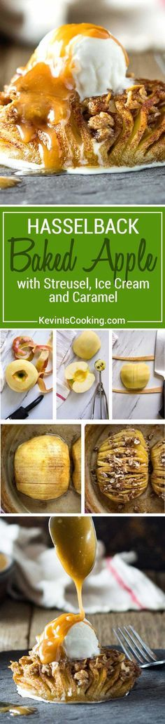 These Baked Hasselback Apples open like a fan and the sweet streusel melts in between each slice for one tasty dessert. Topped with ice cream and caramel. via @keviniscooking