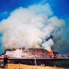 Fire rips through Eastbourne Pier, gutting historic Victorian landmark - Yahoo News UK
