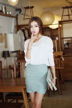 Natural Light Chiffon Top. Gr8 for ppl with light cool skin tone. Follow for more fashion posts!